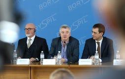 Presse-conférence de Ryanair à l'aéroport de Kyiv-Boryspil, Ukraine Photo stock
