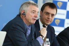 Presse-conférence de Ryanair à l'aéroport de Kyiv-Boryspil, Ukraine Photographie stock libre de droits