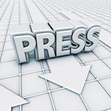 Presse et flèches de logo Photo libre de droits