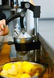 Presse-fruits de citron en café image libre de droits