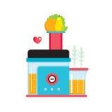 Presse-fruits et fruits frais et légumes faisant le jus frais organique Image stock