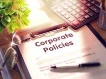 Presse-papiers avec des politiques d'entreprise 3d photos libres de droits