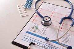 Presse-papiers avec l'électrocardiogramme et le traitement des comprimés sur l'étiquette Photos stock