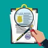 Presse-papiers avec le rapport et le stylo de police illustration stock