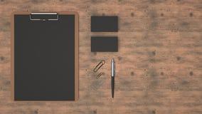 Presse-papiers, cartes de visite professionnelle de visite, trombones et stylo illustration de vecteur