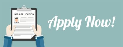 Presse-papiers Job Application Apply Now Header de main Image stock