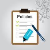 Presse-papiers réglementaire de société de document de liste de concept de politiques Photographie stock