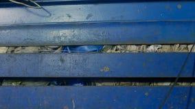 Presse pour presser des déchets à une usine de recyclage des déchets, en gros plan, ambiante image stock