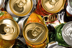 Pressed beer cans. Recycle Stock Photo