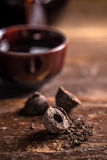 Pressed black pu-erh tea Royalty Free Stock Image