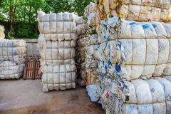 Pressed bundles with waste. On a recycling yard Royalty Free Stock Photography