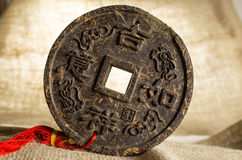 Pressed disc of tea with hieroglyphic. Pressed disc of tea with chinesse hieroglyphic Stock Image