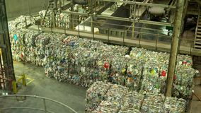 Pressed garbage in a recycling plant