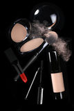 Pressed Powder With Lipstick and Mascara Royalty Free Stock Images