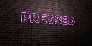 PRESSED -Realistic Neon Sign on Brick Wall background - 3D rendered royalty free stock image Royalty Free Stock Photo