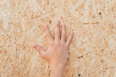 Pressed sawdust in the board. Hand on the board of compressed sawdust. background of pressed beige wooden sawdust. stock photo