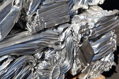 Pressed scrap aluminium. Stock Photos