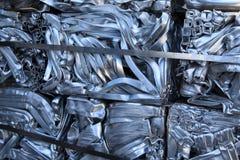 Pressed scrap aluminium. Stock Photo