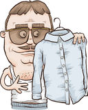 Pressed Shirt. A hip cartoon man in sunglasses examines his pressed white shirt Stock Photos