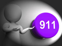 911 Pressed Shows Emergency Number And Services. 911 Pressed Showing Emergency Number And Services stock illustration