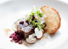 Pressed Terrine. Pomegranate glaze, micro herbs, pickled cucumber and toasted brioche on a white plate as a starter dish Stock Photos