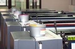 Pressedrucken - Offsetmaschine (Sonderkommando Tinte) Stockfotos
