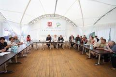 Pressekonferenz der Abteilung der natürlicher Ressourcen und des Umweltschutzes Lizenzfreies Stockfoto