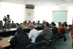 Pressekonferenz - Ministerium der europäischen Integration Lizenzfreies Stockfoto