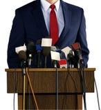 Pressekonferenz mit Sprecher Stockfotos