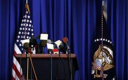 Pressekonferenz Präsidenten- Stockbild