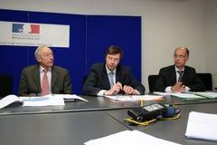 Pressekonferenz von Gerard Rameix Stockbild