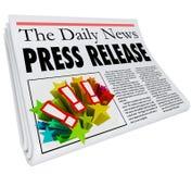 Pressemitteilungs-Zeitungs-Schlagzeilen-Mitteilungs-Alarm Lizenzfreies Stockbild