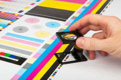 Pressen Sie Farbmanagement in der Druckproduktion vor Lizenzfreie Stockfotografie