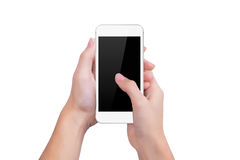 Presses the white phone screen finger of a hand Stock Photo