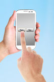 Pressez oui au téléphone portable photo libre de droits