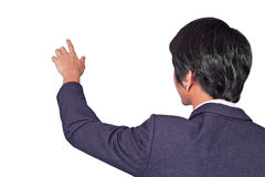 Pressing An Imaginary Button Is Backside Royalty Free Stock Image