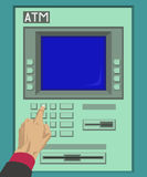 Pressing the ATM button. With left hand Royalty Free Stock Photos
