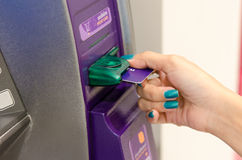 Pressing the ATM. Stock Photography