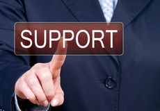 Pressing business support button Stock Photos