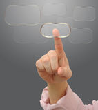 Pressing button on touch screen Royalty Free Stock Image