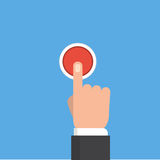 Pressing button vector illustration. Button concept. Pressing button. Finger on red button. Push hand on the button. Flat design Stock Photos