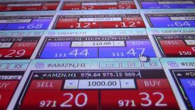 Pressing buy button forex stock market quotes ticker board close up- new quality financial business data screen dynamic. Stock forex market quotes ticker board stock video