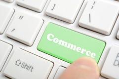 Pressing commerce key on keyboard Royalty Free Stock Image