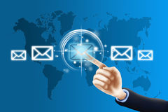 Pressing email button. Contact us concept, businessman pressing contact button on virtual screen Stock Photos