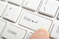 Pressing enter key Royalty Free Stock Photo
