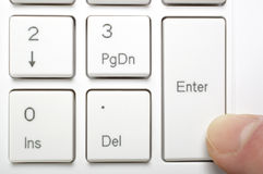 Pressing enter key Royalty Free Stock Photos