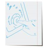 Pressing the finger on the sensor tablet. Pressing the finger on the sensor, tablet,hand-drawn royalty free illustration