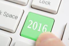 Pressing 2016 key on keyboard Royalty Free Stock Image