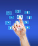 Pressing number key pad Royalty Free Stock Images