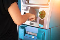 Pressing password number on ATM machine. Online banking business concept Stock Photography